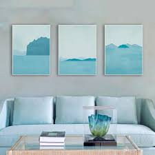 2018 3 modern abstract seascapes poster a4 blue landscape big wall art picture nordic living room home decor canvas painting no frame from lyq669