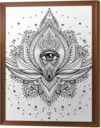 Fototapeta Vektorové Ornamentální Lotosový Květ Všudypřítomné Oko