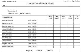 School Attendence Sheet Attendance Classroom And Homeroom Input Sheets