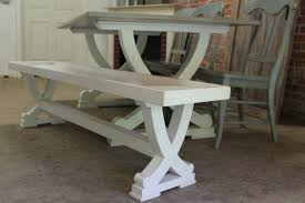 Trestle table with bench Rustic Trestle Read More Bench For Curved Trestle Table Lay Day Farmhouse Benches
