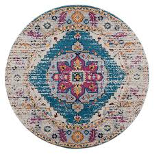 amer rugs manhattan teal and pink round 6 ft 6 in x 6 ft 6 in rug