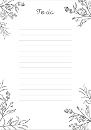 List To Do Pretty And Simple Black White To Do List Free Printable