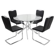 round glass top dining table set with 4 black chairs