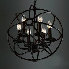 industrial orb chandelier in wrought iron style with globe cage pertaining to amazing home iron globe chandelier decor