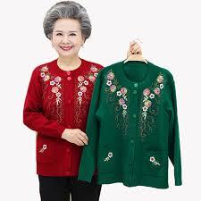 Middle aged Elderly Women Sweater Cardigan Coat <b>New Spring</b> ...