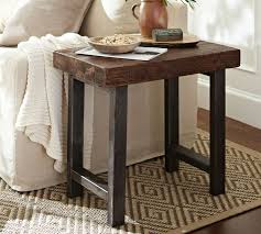 Wrought iron and wood furniture Living Room Pottery Barn Griffin Reclaimed Wood End Table Pottery Barn