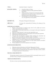 Substitute Teacher Job Duties For Resume Resume For Study
