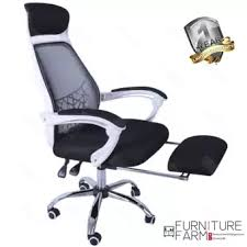 white frame office chair. F\u0026F: Fågelbo Designer WHITE Frame High Back Office Chair With Stealth Retractable Leg Rest White