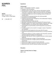 Hr Specialist Resume Sample Velvet Jobs