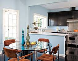blue kitchen wall colors.  Blue Kitchen Cabinets With Stainless Steel Appliances Round Glass Dining  Room Tables Upholstered Orange Tufted Chairs Blue Paint Wall Color And Kitchen Wall Colors