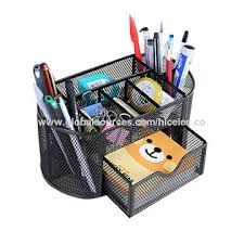 office pen holder. China HLC Black Metal Stand Pen Holder Office Pencil Box