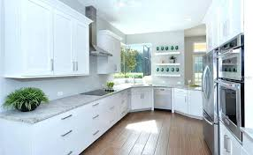 kitchen with cabinetry slab veneer maple in dove white flat panel cabinets kraftmaid full size