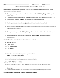 name date block photosynthesis respiration study guide 2016 answer key photosynthesis fill in