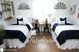 farmhouse navy white ticking stripe ties designer dorm bedding set black and blue room