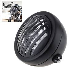 12v 6 inch universal motorcycle retro refit metal headlight black with grill cover for harley cafe racer msia
