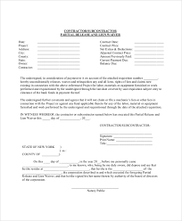 Free Subcontractor Lien Waiver Form Sample Lien Waiver Form 8 Examples In Pdf Word