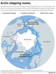 Polar Routes Charts A Container Ship Is About To Sail An Arctic Sea Route For
