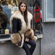 Thick Warm <b>Real Fox Fur</b> Lining Denim Jacket Coat Parkas Natural ...