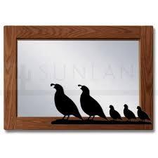 quail family 40in horizontal oak framed