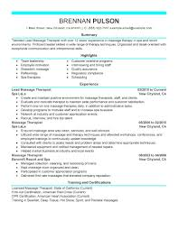 Massage Resume Examples Resume Massage Therapist Resume Examples 16
