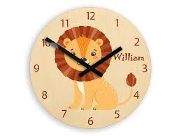 kids wall clock lion with
