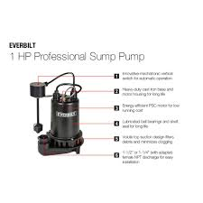 everbilt 1 hp professional sump pump pssp10001vd the home depot
