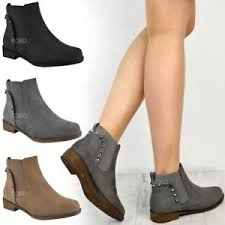 Details About Womens Ladies Flat Studded Boots Chelsea Low Mid Block Heel Rock Biker New Size
