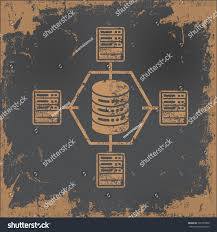Network Design Paper Databasenetwork Design On Old Paper Background Stock Vector