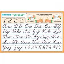 Capital And Lowercase Cursive Letters Chart Cursive Alphabet Wall Poster