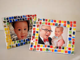 painted mosaic styrofoam tile picture frame