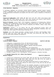 Resume For Network Engineer Customer Support It Management L2 L3