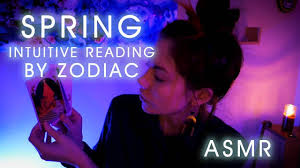 intuitive tarot and oracle card reading by zodiac for spring asmr