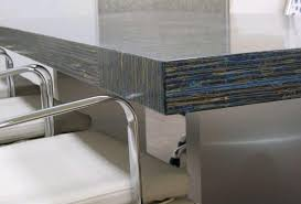 sustainable countertops torzo green concrete countertops with blue glass accents