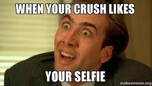 When your crush likes your selfie - Sarcastic Nicholas Cage | Make ... via Relatably.com