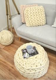A touch of hygge in your home - giant knitted and crocheted footstools and  cushions #