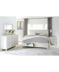 Sag Harbor White Bedroom Furniture Collection, 3 Piece Set (King Storage Platform Bed, Chest & Nightstand)
