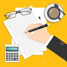 businessman s hand writing his report or resume flat style businessman s hand writing his report or resume flat style business background icons for your
