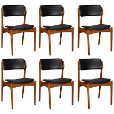 leather dining chairs and table elegant set of six danish teak and leather dining chairs by