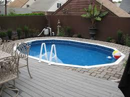 semi inground pools with decks | Concrete floor panels with Semi-Inground  Pool