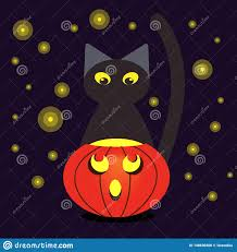 Halloween Cat Lights Pumpkin And Black Cat At Night With Lights Of Fireflies