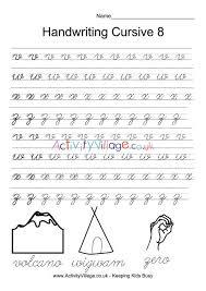 Handwritting Practice Handwriting Practice Cursive 8