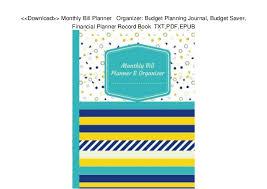 Download Monthly Bill Planner Organizer Budget Planning