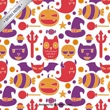 Halloween Pattern Adorable Hand Drawn Cute Halloween Pattern Vector Free Download