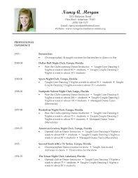 Dance Resume Format Resume Samples