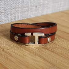 handmade men s leather bracelet h clasp wrap2 brown