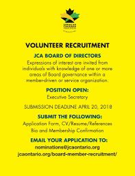 Resume Board Member Jamaican Canadian Association The Jca 2018 Volunteer Recruitment