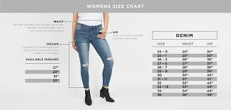 Womens Jeans Sizing Chart Womens Denim Size Guide Bluenotes