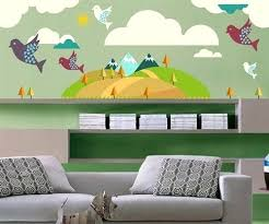 baby room wall decals mountain trees and birds wall decal kit nursery room decor wall fabric