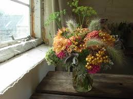 seasonal wedding flowers with wild grasses and berries