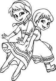 Very Cute Girls Anna Elsa Coloring Page Coloring For Kids 2019
